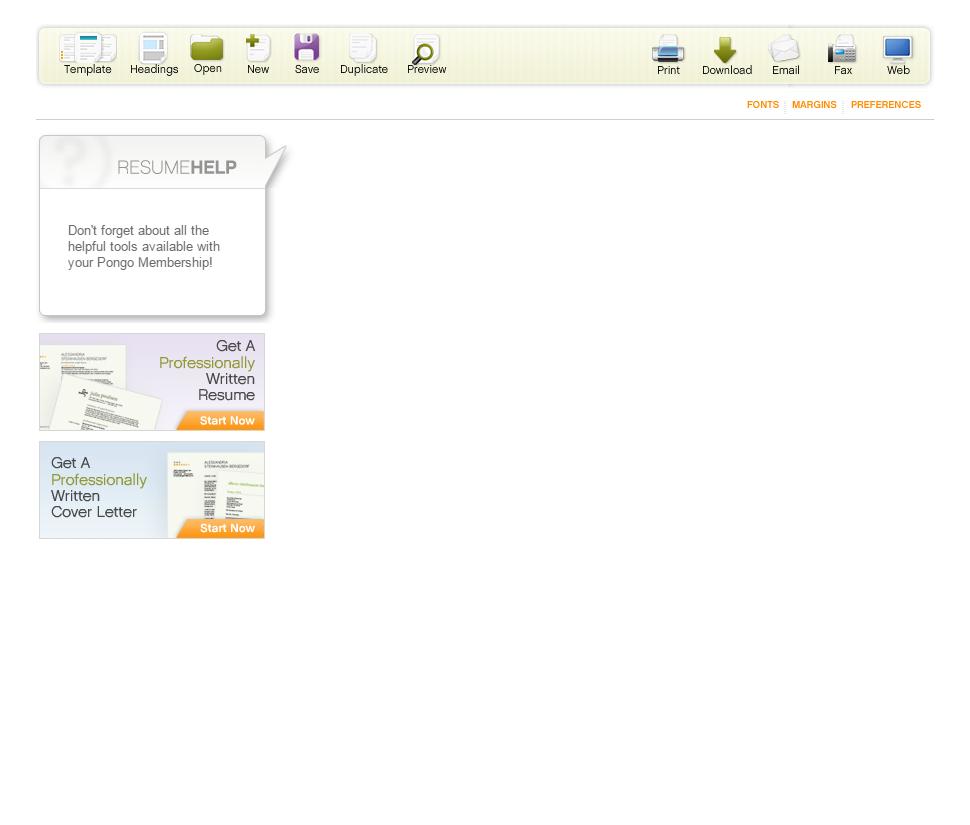 resume Pongo Resume easy resume builder create resumes pongo welcome to resume